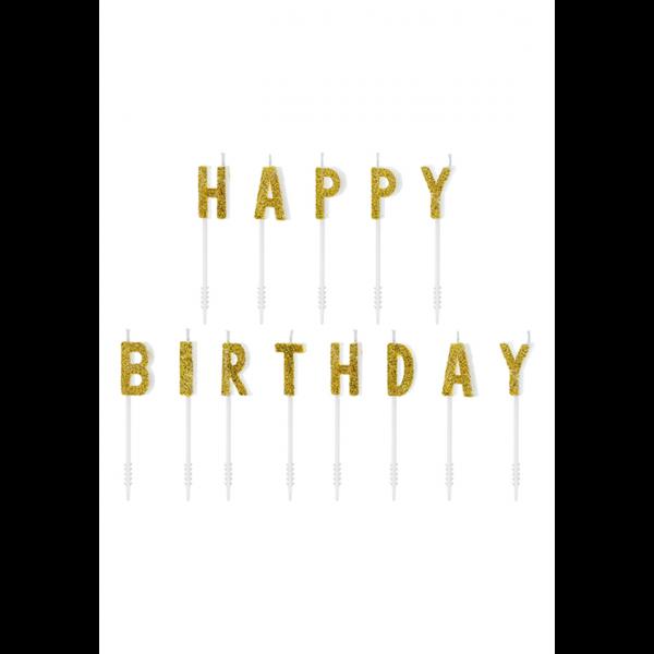 13 Kuchenkerzen - Happy Birthday - Gold