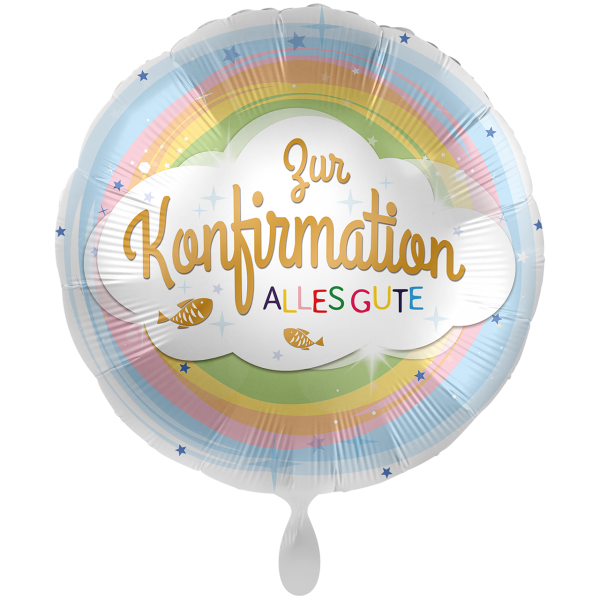 1 Ballon XXL - Konfirmation Regenbogen