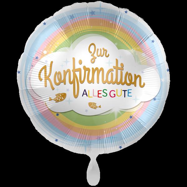 1 Ballon XXL - Konfirmation Regenbogen