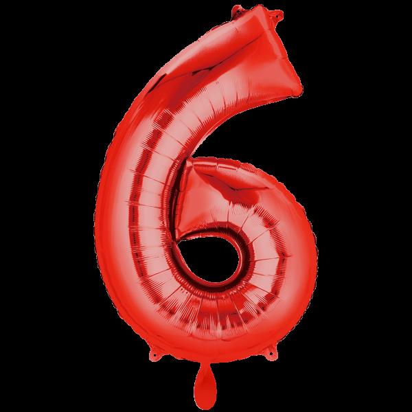 1 Ballon XXL - Zahl 6 - Rot