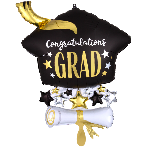 1 Ballon XXL - Satin Infused Cap & Diploma
