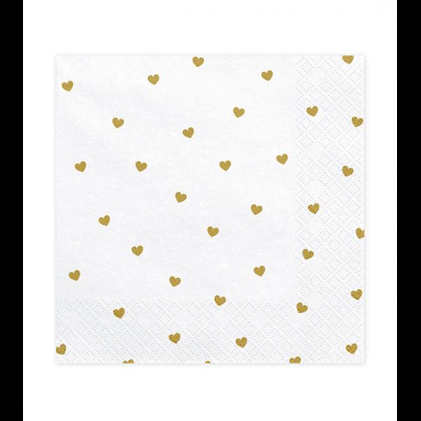 20 Servietten Trend - 33cm - White With Hearts
