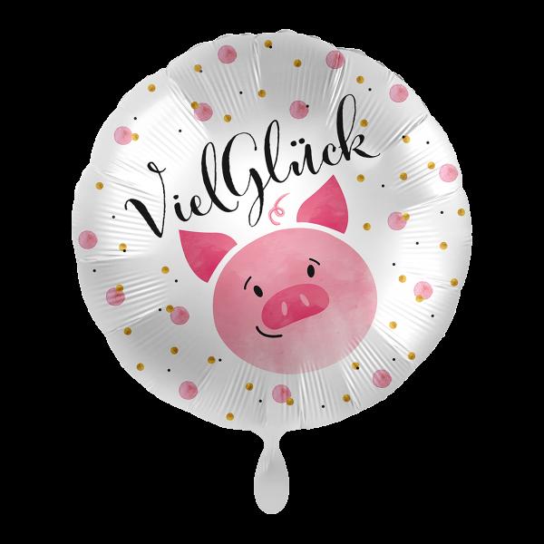 1 Ballon - Viel Glück Schweinchen
