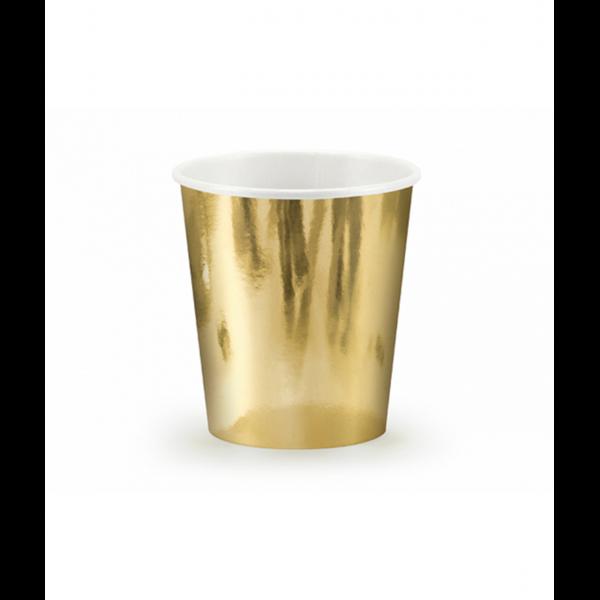 6 Pappbecher Trend - 180ml - Gold