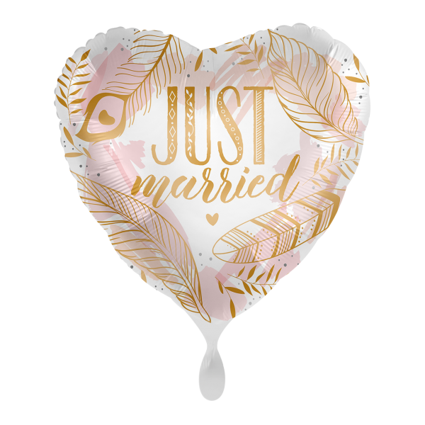 1 Ballon - Just Married Boho Feathers