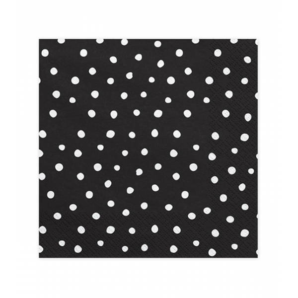 20 Servietten Trend - 33cm - Black with Dots