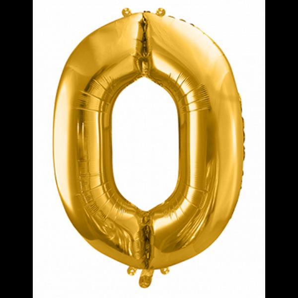 1 Ballon XXL - Zahl 0 - Gold