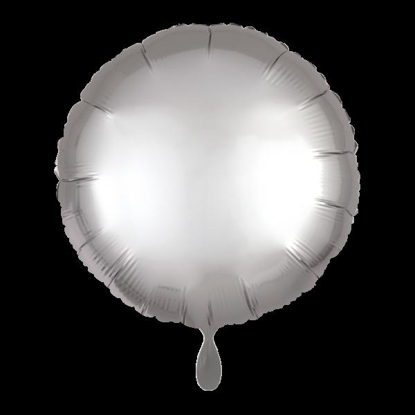 1 Ballon - Rund - Satin - Silber