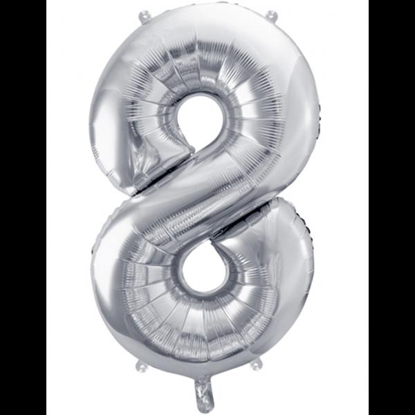 1 Ballon XXL - Zahl 8 - Silber