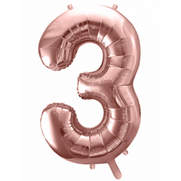 1 Ballon XXL - Zahl 3 - Rosegold