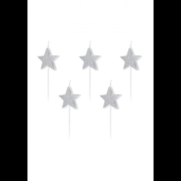5 Kuchenkerzen - Stars