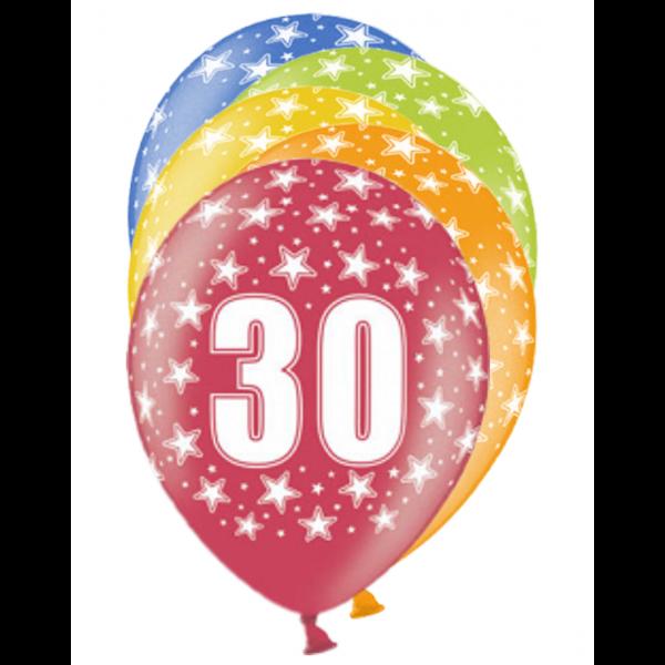 6 Motivballons - Ø 30cm - 30 Celebration