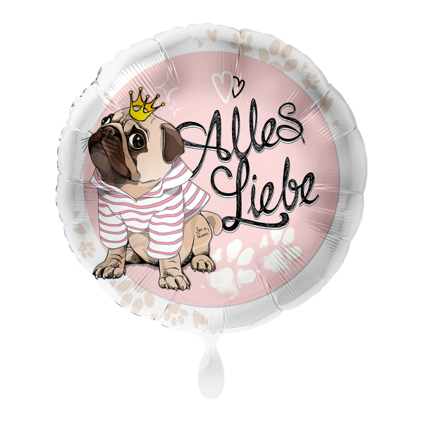 1 Ballon - Mops Alles Liebe