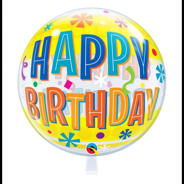 1 Bubble Ballon - Birthday Fun & Yellow Bands