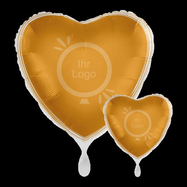 1 Werbeballon - Herz, Ø 43cm, 2-Seitig - Satin - Gold