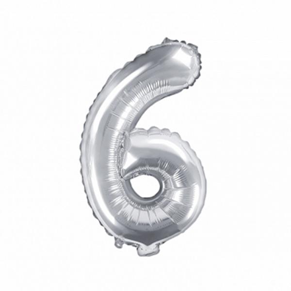 1 Ballon XS - Zahl 6 - Silber