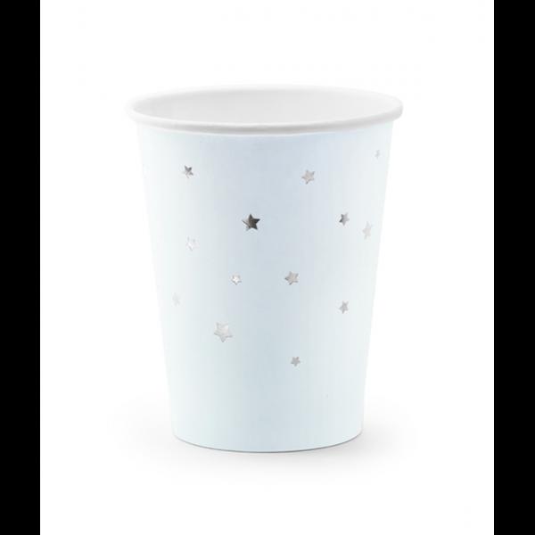 6 Pappbecher Trend - 260ml - Stars Hellblau