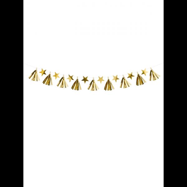1 Tasselgirlande - 1,3m - Golden Stars