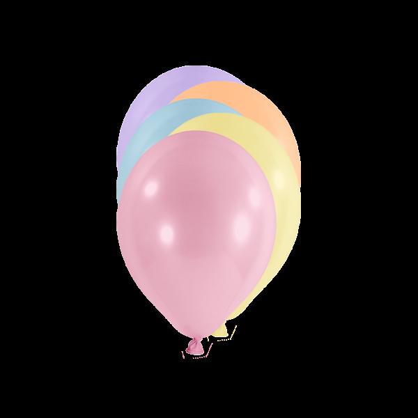 100 Miniballons - Ø 12cm - Pastell - Bunt