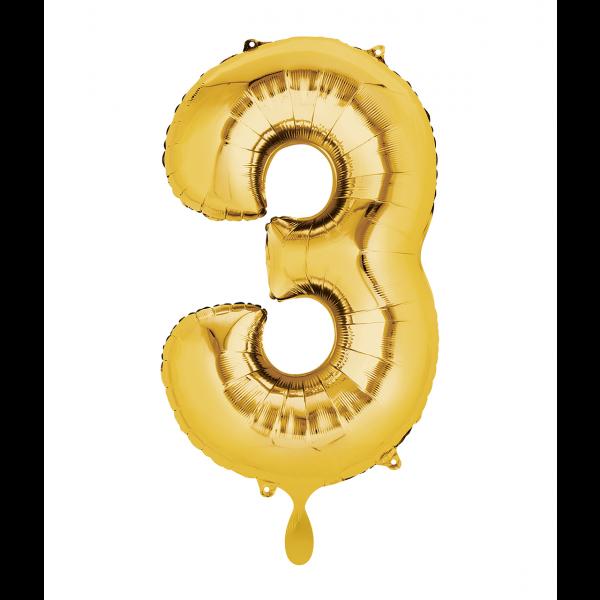 1 Ballon XL - Zahl 3 - Gold