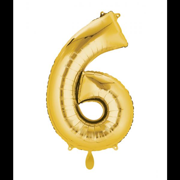 1 Ballon XL - Zahl 6 - Gold