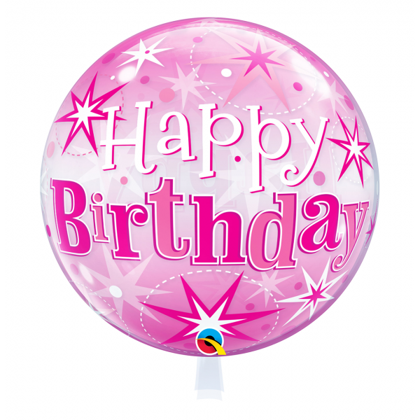 1 Bubble Ballon - Birthday Pink Starbust Sparkle
