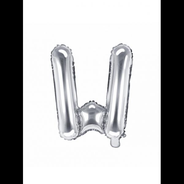 1 Ballon XS - Buchstabe W - Silber