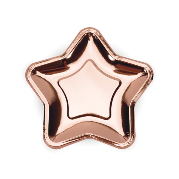 6 Pappteller Trend - Ø 18cm - Star - Rosegold
