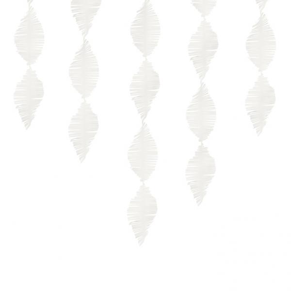 1 Papiergirlande - 3m - Crepe Fringe - Weiß