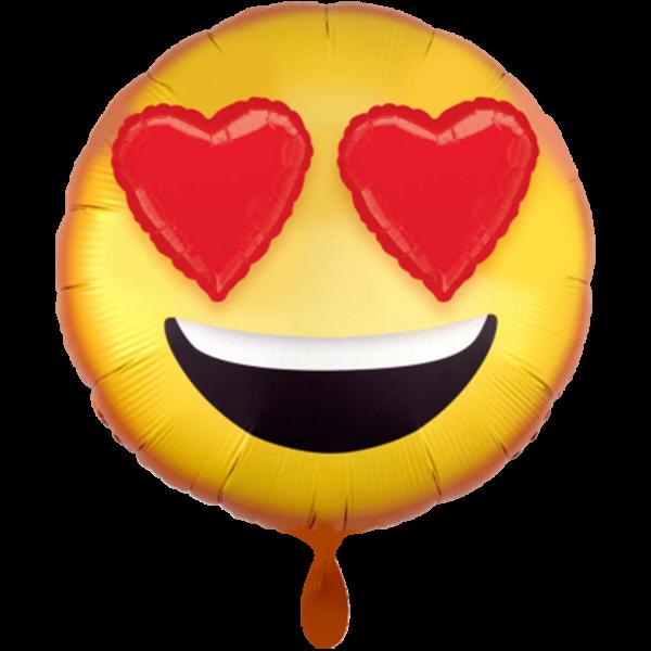 1 Ballon - 3D Emoticon with Heart Eyes - Ø 71cm
