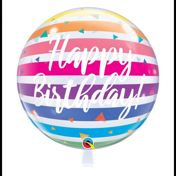 1 Bubble Ballon - Birthday Bright Rainbow Stripes