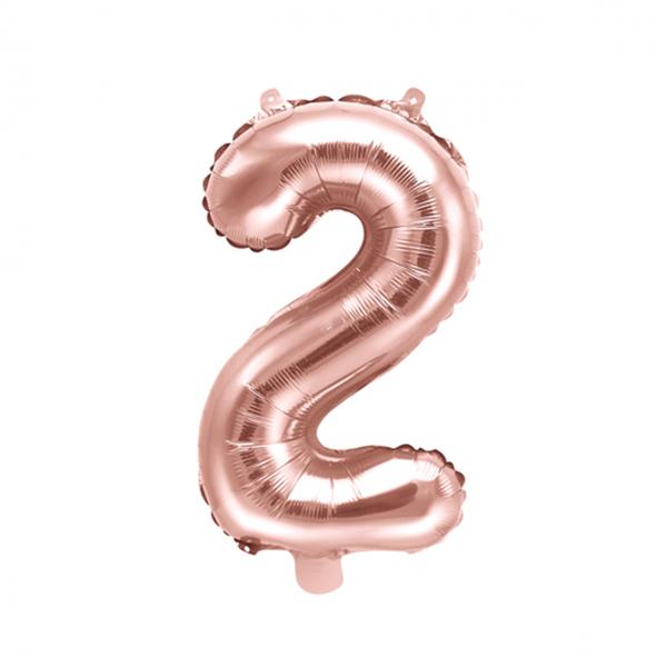1 Ballon XS - Zahl 2 - Rosegold