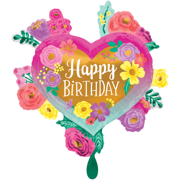 1 Ballon XXL - Happy Birthday Painted Flowers