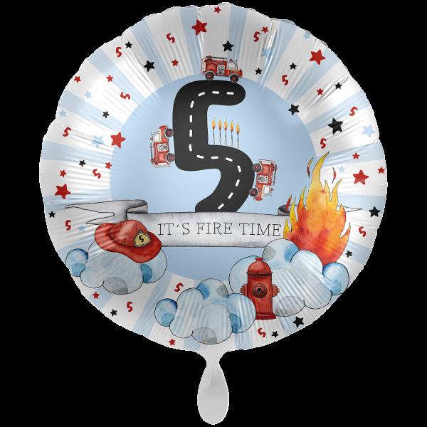 1 Ballon XXL - Happy Fire Engine - Fünf