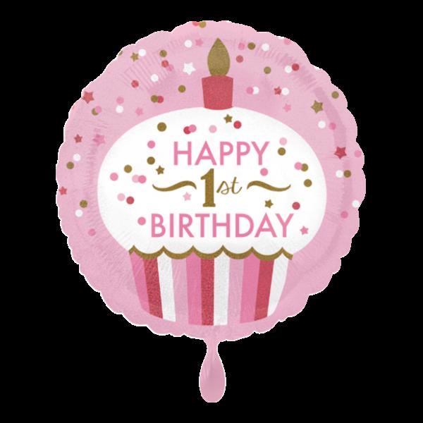 1 Ballon - 1st Birthday Cupcake Girl