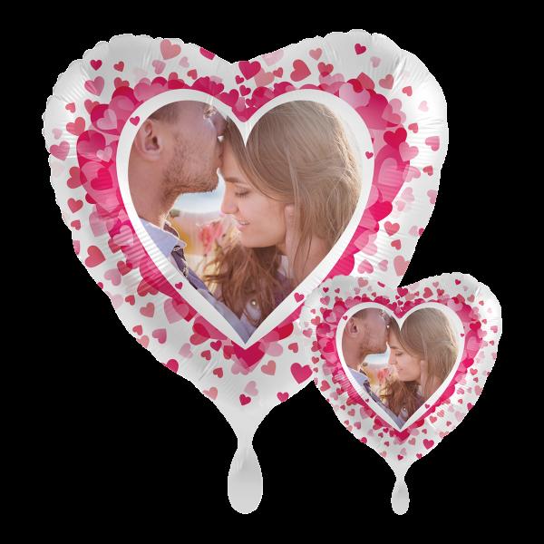 1 Ballon mit Foto - Pink Hearts