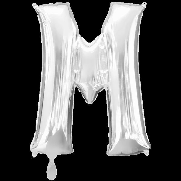 1 Ballon XXL - Buchstabe M - Silber