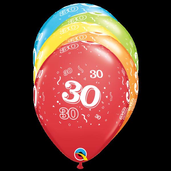 6 Motivballons - Ø 27cm - Age 30