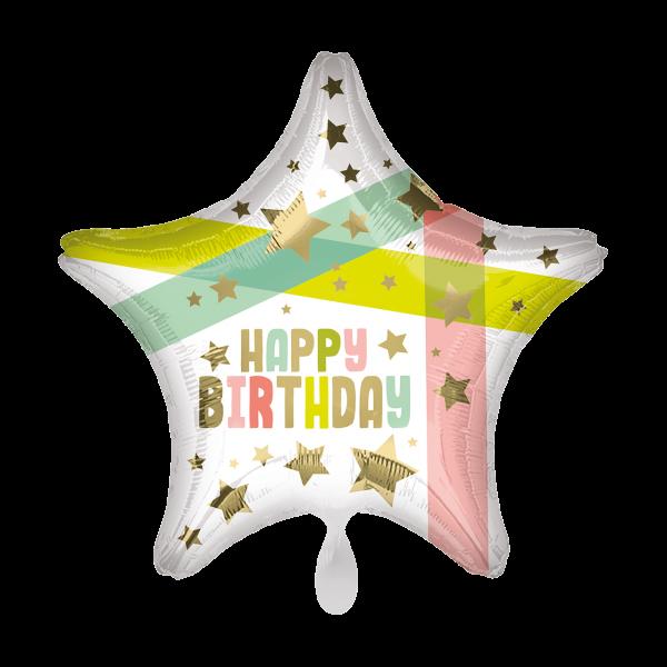 1 Ballon - Happy Birthday Gold Stars and Colors