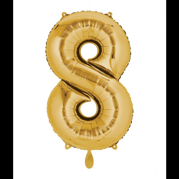 1 Ballon XL - Zahl 8 - Gold