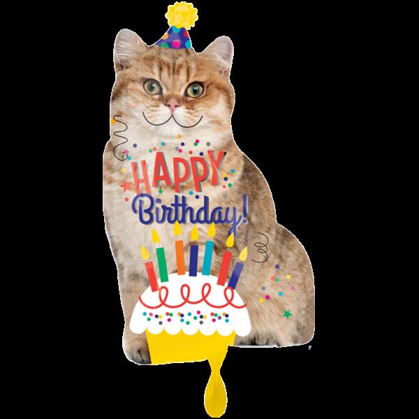 1 Ballon XXL - Happy Birthday Cat