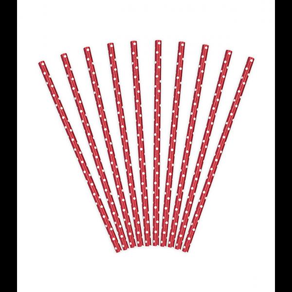 10 Papierstrohhalme - Dots - Rot