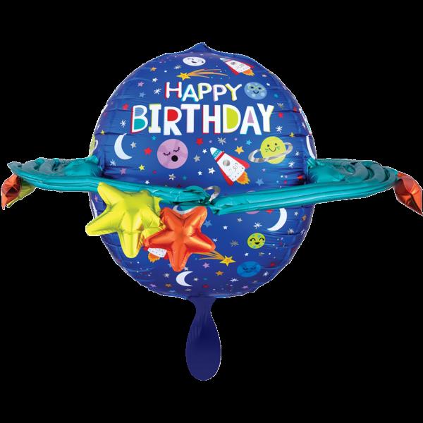 1 Ballon XXL - Happy Birthday Colorful Galaxy