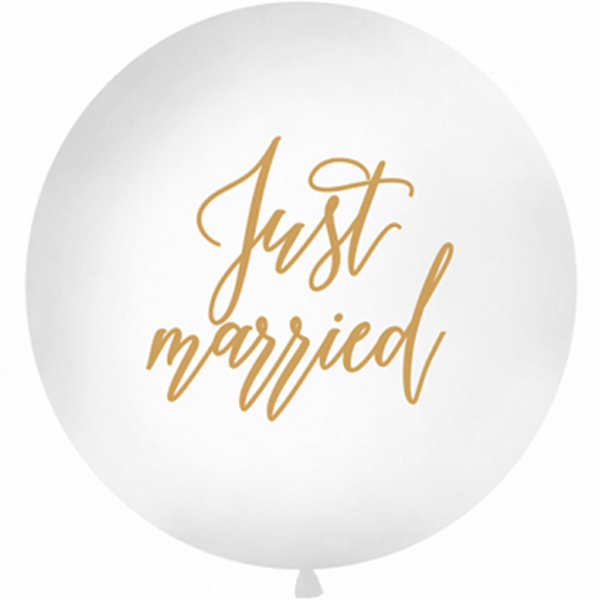 1 Riesenballon - Ø 1m - Just Married - Gold