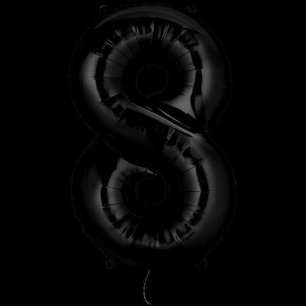 1 Ballon XXL - Zahl 8 - Schwarz