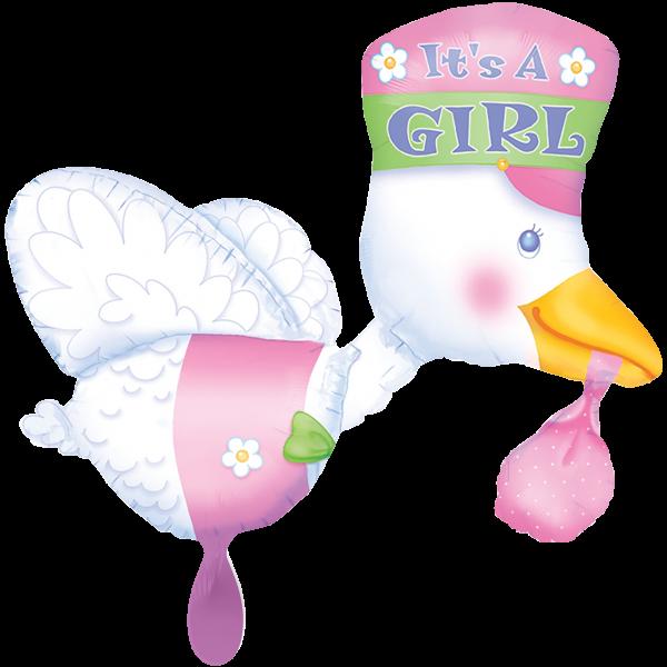 1 Ballon XXL - Bundle of Joy Stork - Its a Girl