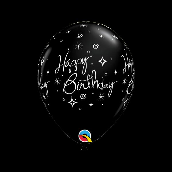 6 Motivballons - Ø 27cm - Birthday Elegant Sparkles & Swirls