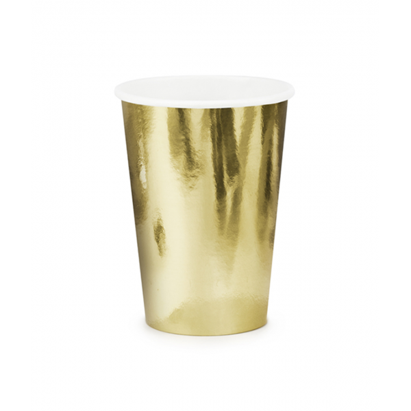6 Pappbecher Trend - 220ml - Gold