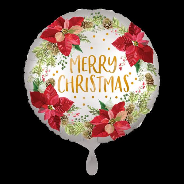 1 Ballon - Satin Infused Poinsettia Christmas