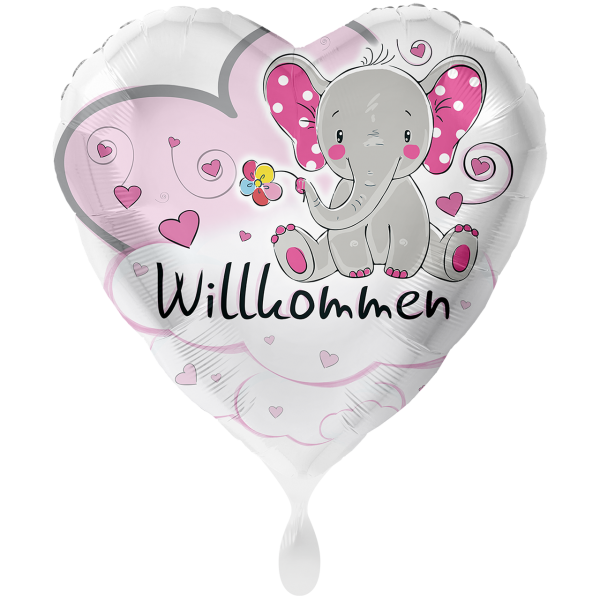 1 Ballon XXL - Elefant Willkommen Rosa